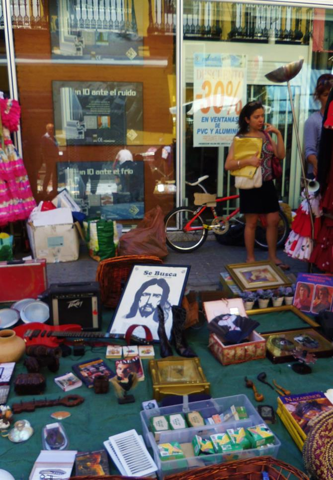Jesus is really worshipped in Seville. Flea market in Macarena