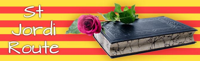 St Jordi Route - Book and Rose in front of the Catalan Flag