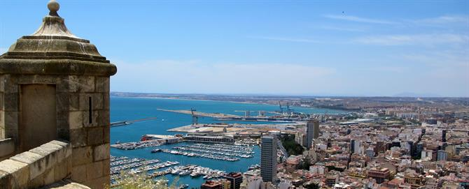 View of Alicante marina from the castle