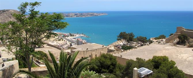 Views of Alicante bay from Santa Barbara Castle