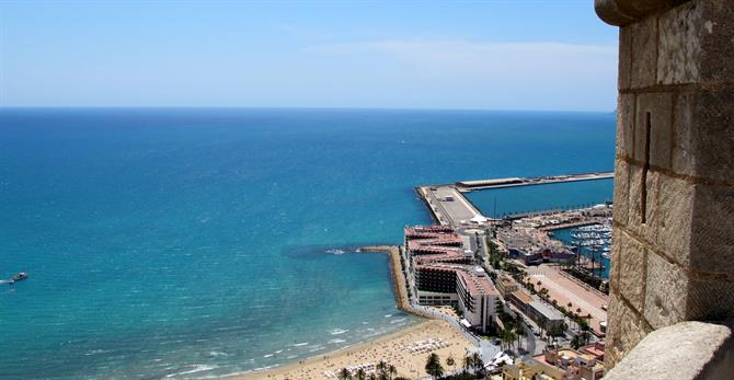 Postiguet beach from Alicante castle