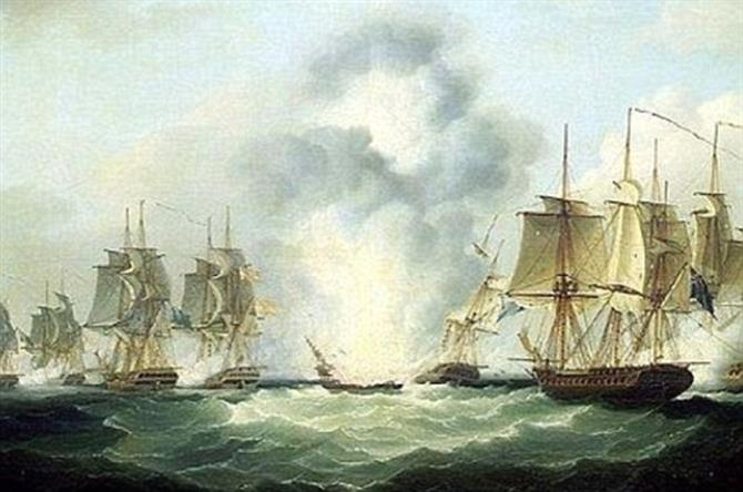 Battle at sea 1804 when ship sunk