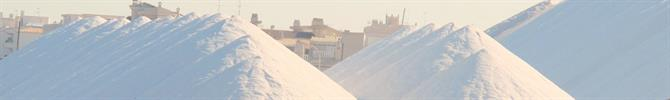 Mountains of salt by Torrevieja lagoons