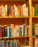 Book-filled shelves inside Babelia Cafe