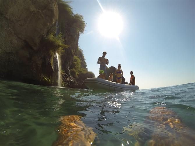 Snorkelling near Maro beach, waterfall
