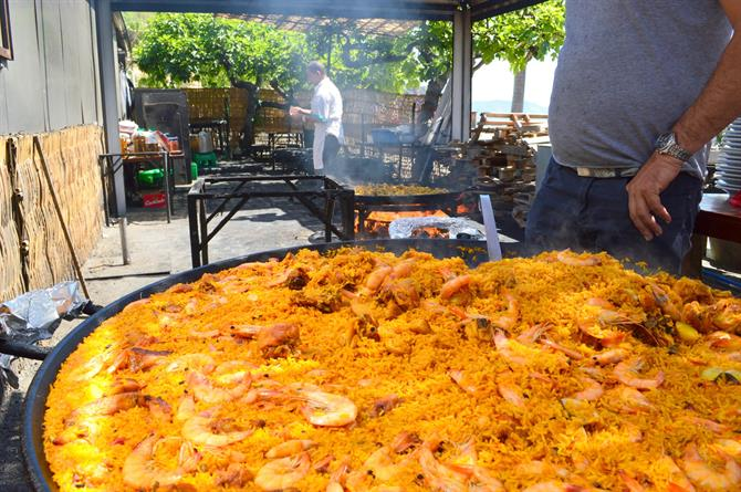 Paella on Burriana beach, Nerja