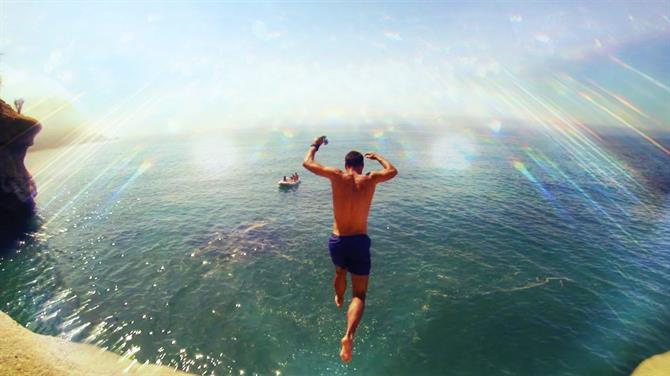 Jumping to the sea on Costa del Sol