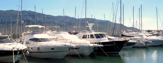 Yachts in Denia Marina with the Montgo mountain in the background