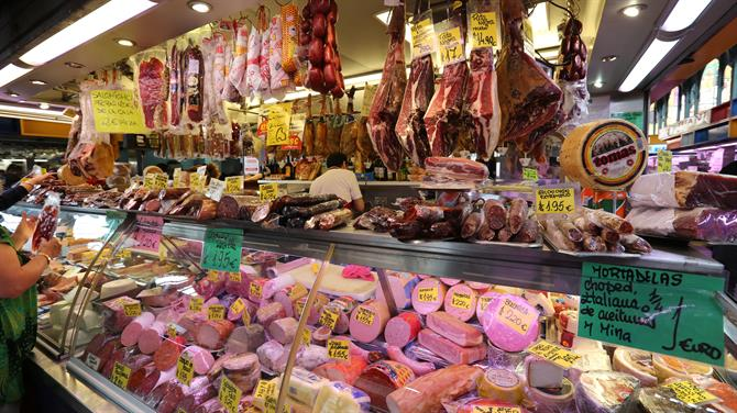 Meat in the market in Malaga