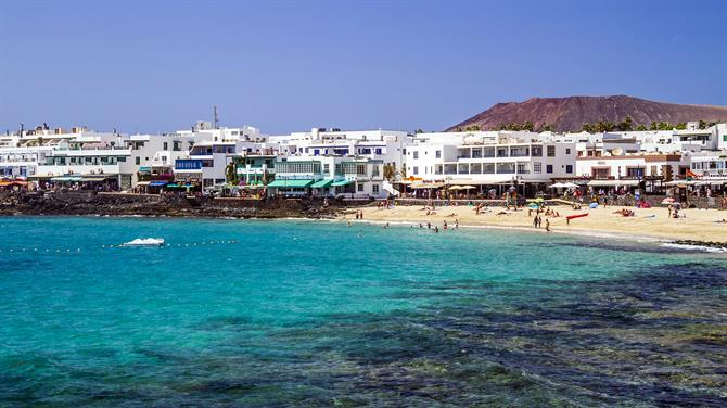 A view of the bay at Playa Blanca in Lanzarote