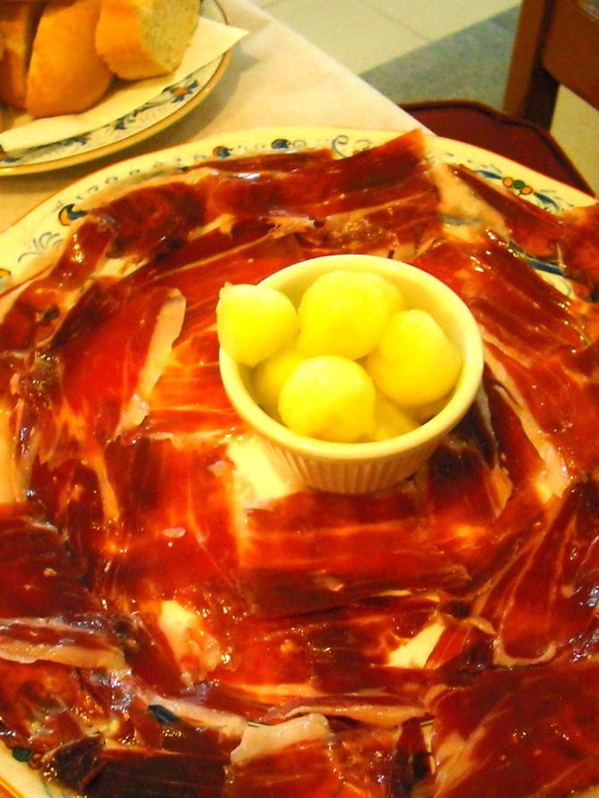 Jamon Serrano with melon balls