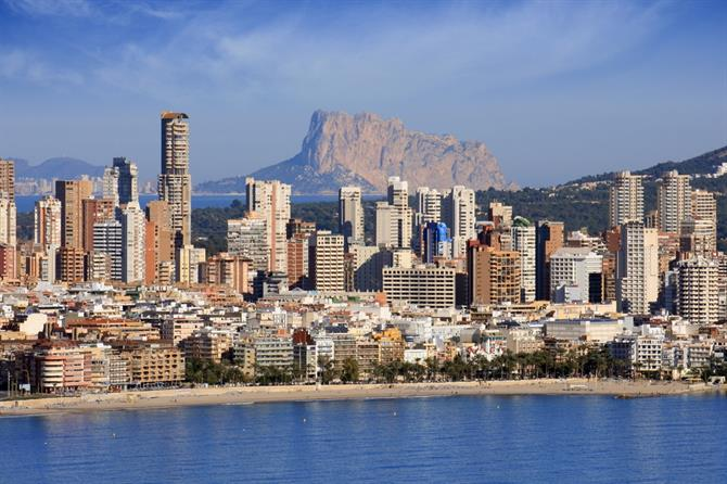 Benidorm - Finestrat beach and skyline