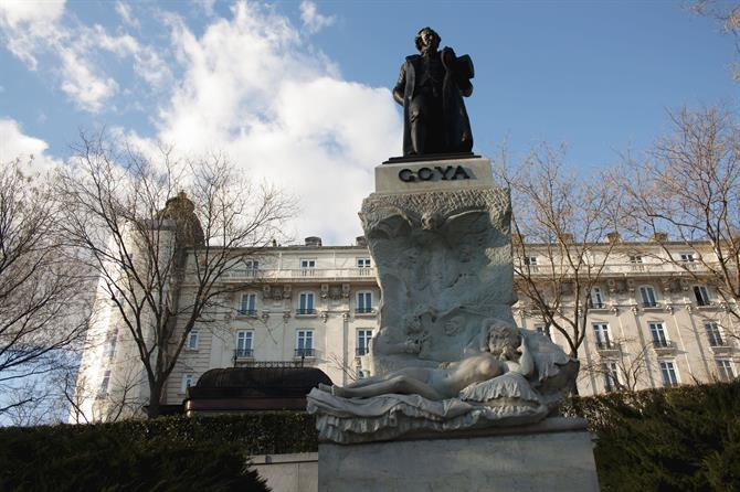 Goya underneath his Naked Maya sculpture, the Prado, with behind the Ritz Hotel, Madrid