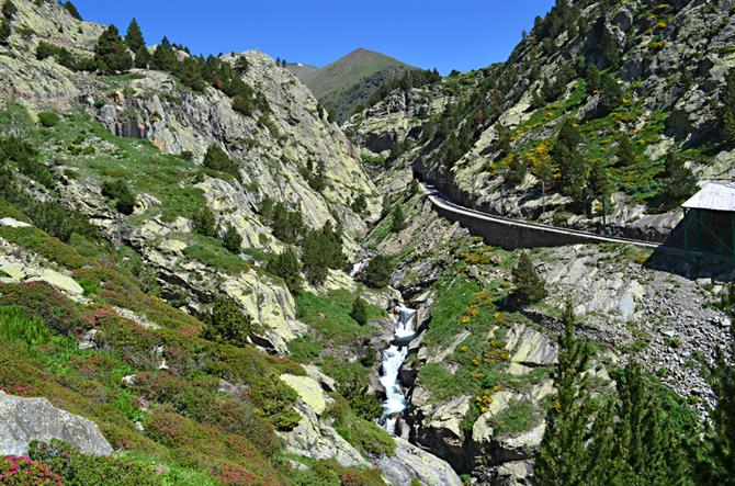 Rack railway to Vall de Nuria, Pyrenees, Catalonia, Spain