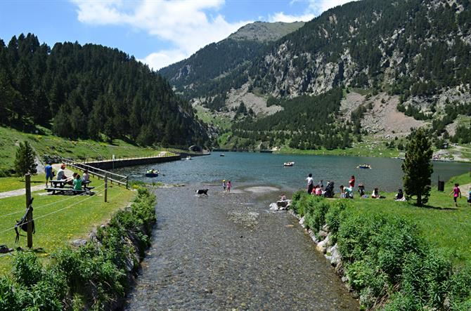 Relaxing at Vall de Nuria, Pyrenees, Catalonia, Spain