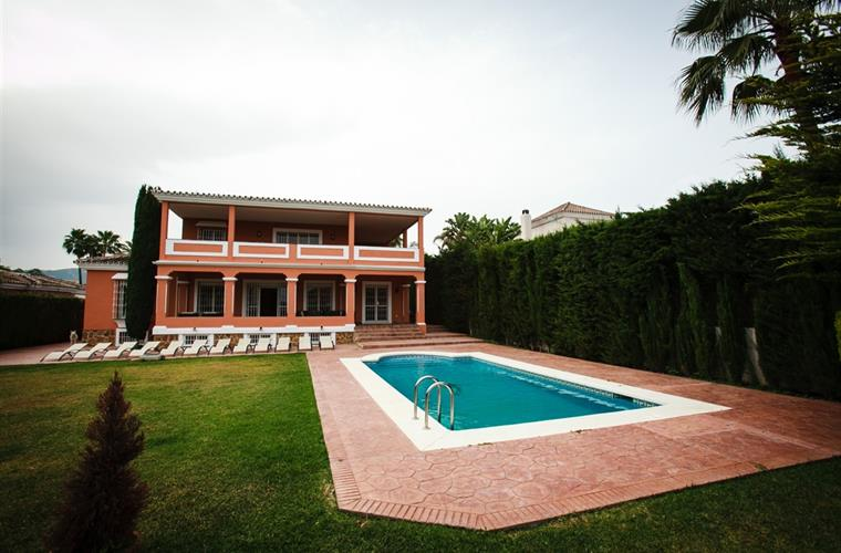 back of villa Angelo with private garden and pool