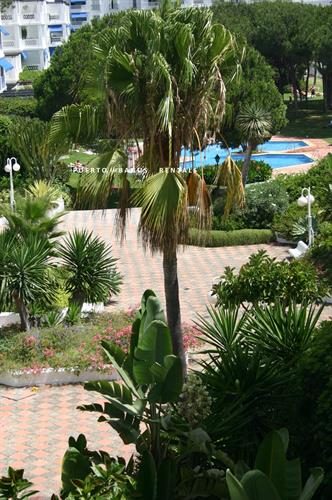 Views of pool, gardens and Andalucian fountains from the balcony.