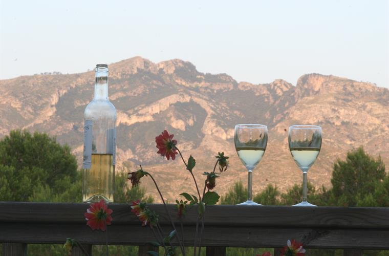 A glass of wine while you watch sunset over the mountains