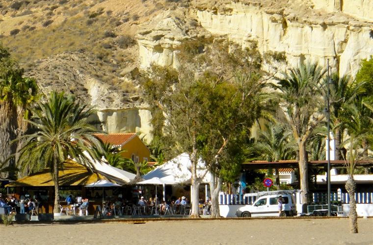 Beach restaurants at Bolnuevo beach.