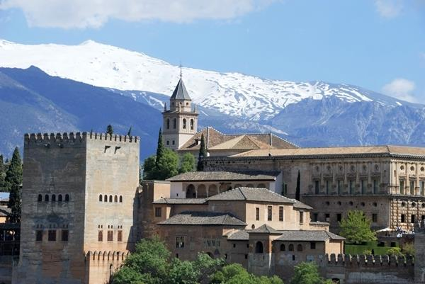 Snow on Sierra Nevada behind Alhambra palace