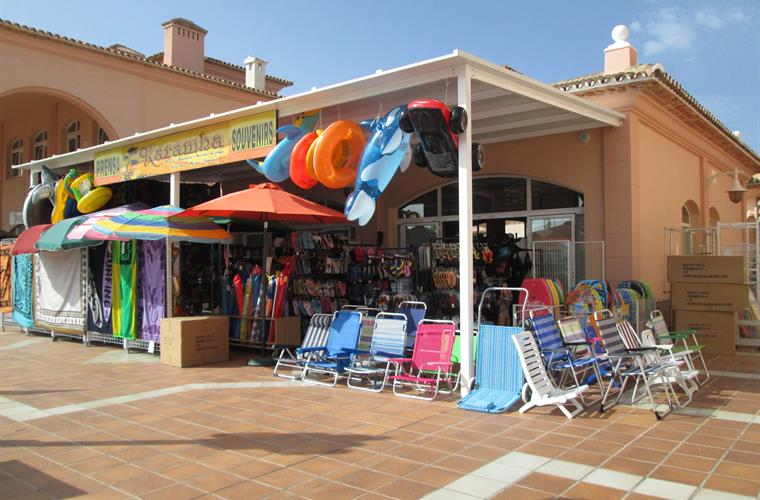Shop selling beach requisites in commercial centre