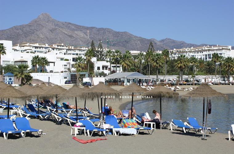 Sandy beaches in Puerto Banus-direct access from our garden gate.