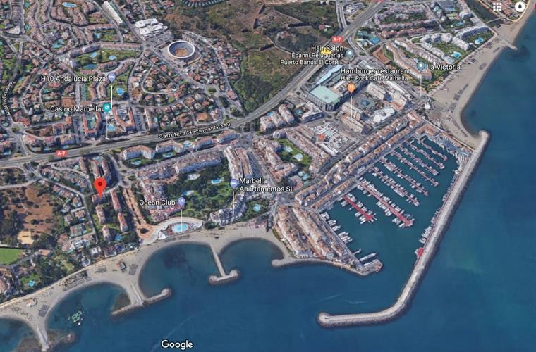 Location of our beach front apartments, minutes walk to the marina