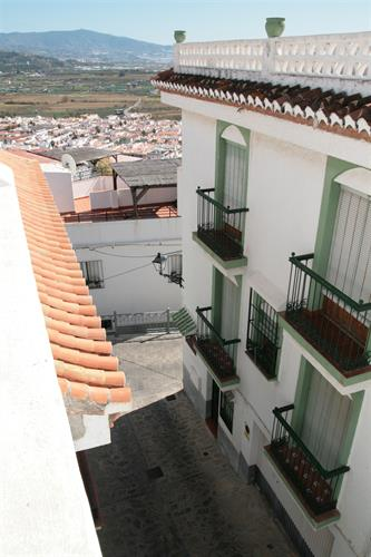 A view of the street from the terrace.