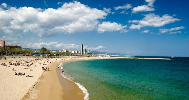 In Barcelona there is a great beach