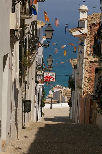 Pretty cobbled lane in Altea leading down to the sea