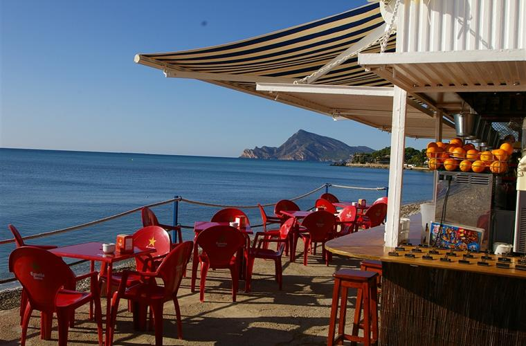 Beach cafe below Villa Gadea, waiting for the morning crowd