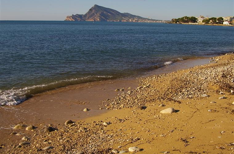 Sweeping vista of the blue-flag beach of Altea Bay