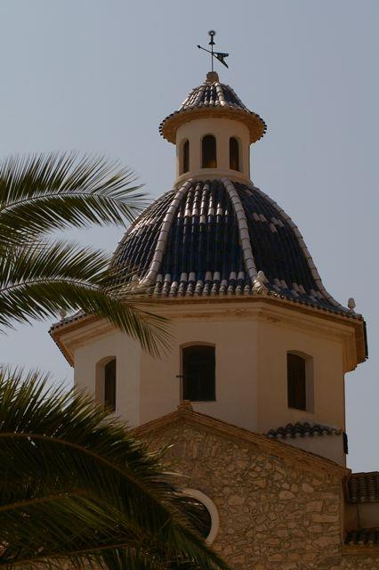 Beautiful blue-tiled church in Altea town square.