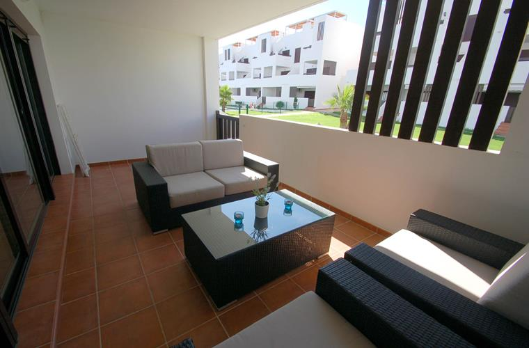 Big terrasse. The ground floor apartaments have access to the pool
