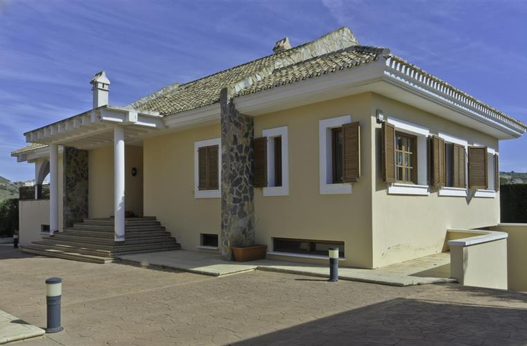 View of villa from front gate.