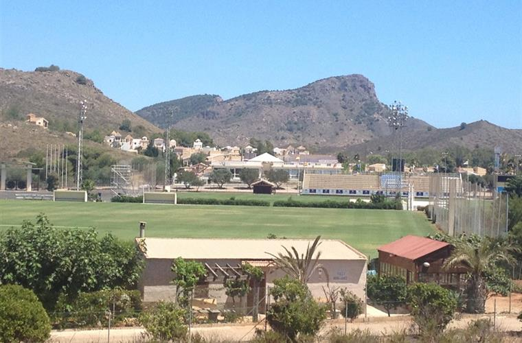 View to La Manga Club Football Pitches & Lionhead Mountain.
