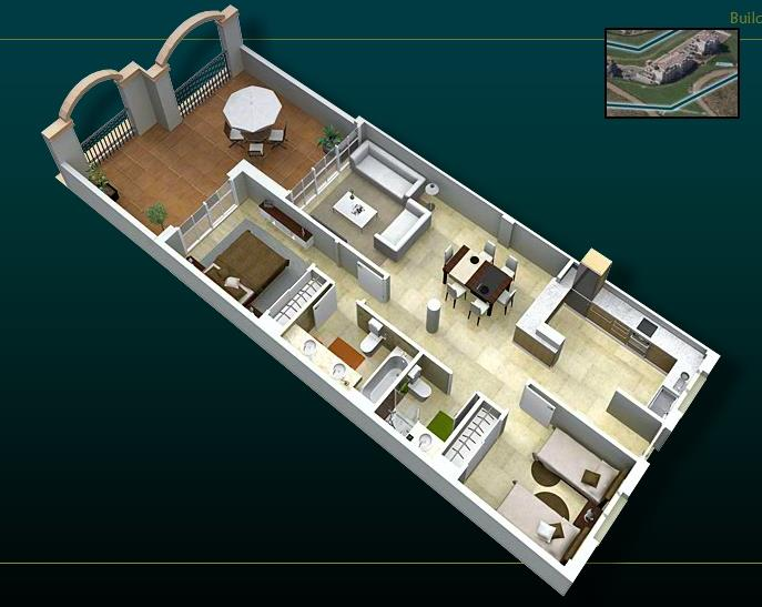 Apartment layout, except the 3rd bedroom and spa on the terrace.