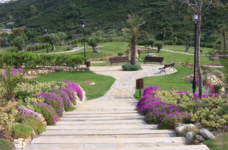 Landscaped gardens in picnic area
