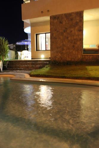Garden and swimming pool night illumination