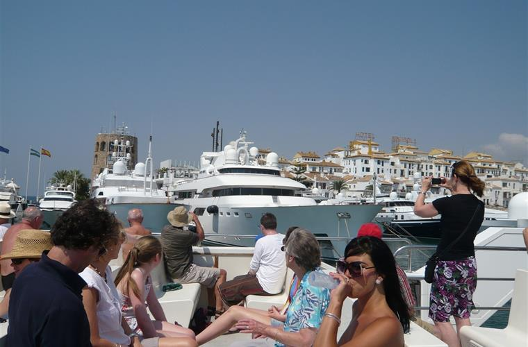 puerto banus on a tour boat that sails every day of the year