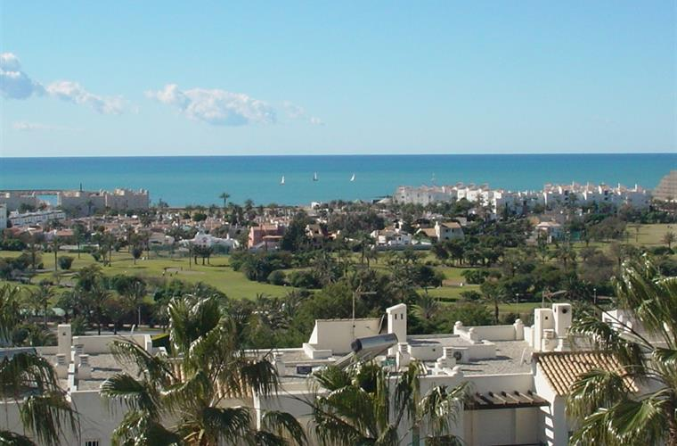 View on the golf course, Mediterranean and centre of the town.