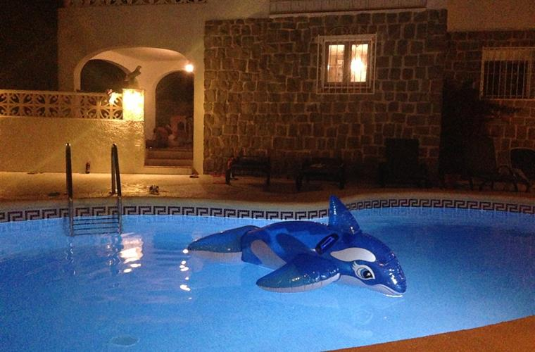 Ledlight in pool makes every evening special. Beware of sharks!