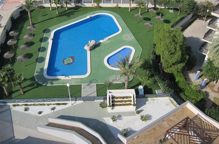 Views of the pool area from roof terrace