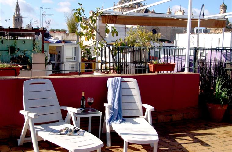 relax on the sun lounchers of the private roof top terrace