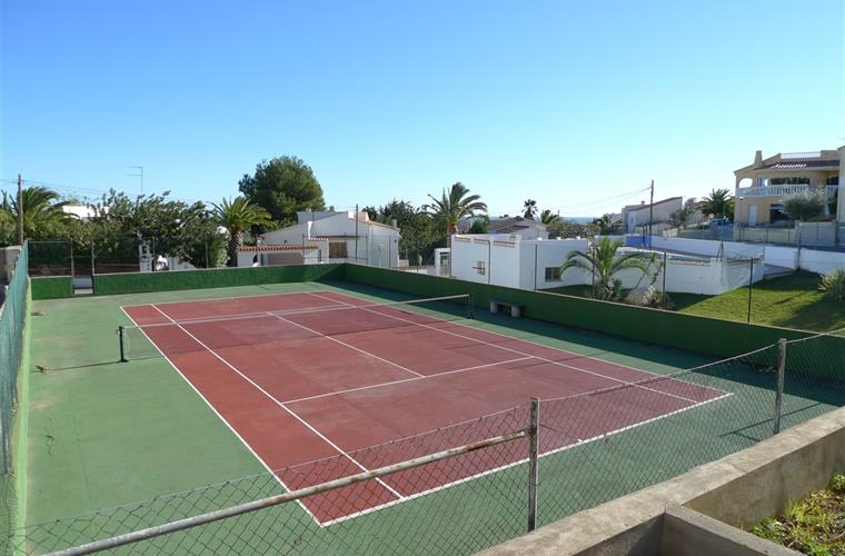 Private tennis court.