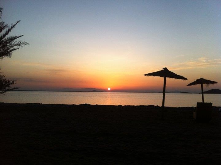 As the sun sets over the horizon Mar Menor