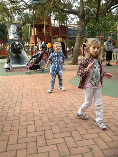 Children playing in the nearby Paloma Park