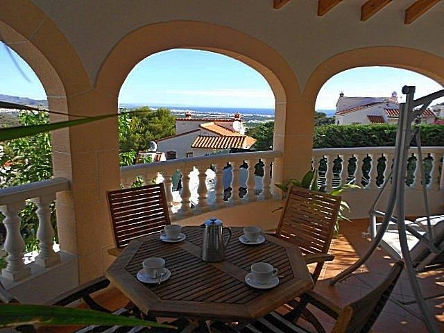 Terrace overlooking the rear garden, La Safor and  Mediterranean..
