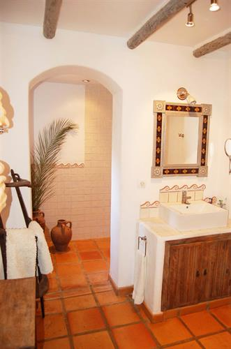 Beautiful bathroom. Bleached wood, Handmade imported tiles