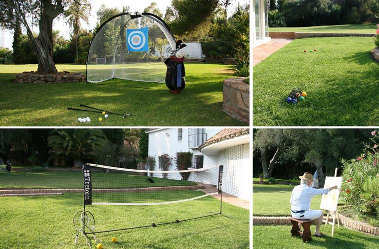 activities in the garden: golf practicing, street tennis..